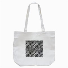 Black And White Ornate Pattern Tote Bag (white)