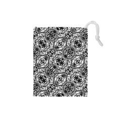 Black And White Ornate Pattern Drawstring Pouches (small)