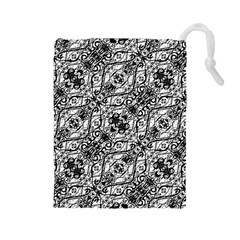 Black And White Ornate Pattern Drawstring Pouches (large)