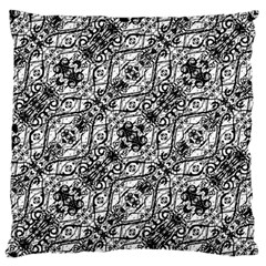 Black And White Ornate Pattern Large Flano Cushion Case (one Side)