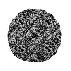 Black And White Ornate Pattern Standard 15  Premium Flano Round Cushions