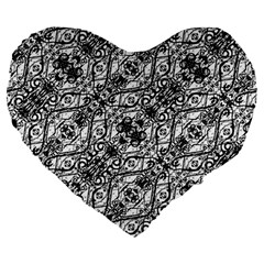 Black And White Ornate Pattern Large 19  Premium Flano Heart Shape Cushions