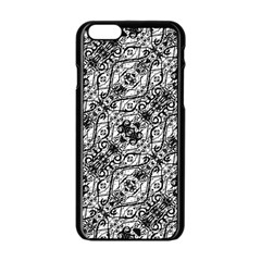 Black And White Ornate Pattern Apple Iphone 6/6s Black Enamel Case