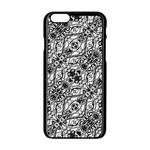 Black and White Ornate Pattern Apple iPhone 6/6S Black Enamel Case Front
