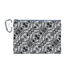 Black And White Ornate Pattern Canvas Cosmetic Bag (m)