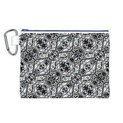 Black And White Ornate Pattern Canvas Cosmetic Bag (l)