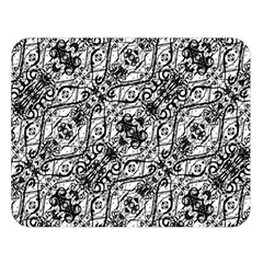 Black And White Ornate Pattern Double Sided Flano Blanket (large)