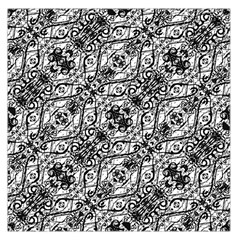 Black And White Ornate Pattern Large Satin Scarf (square)