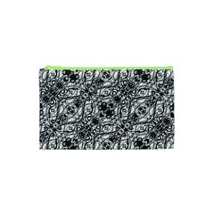 Black And White Ornate Pattern Cosmetic Bag (xs)