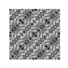 Black And White Ornate Pattern Small Satin Scarf (square)