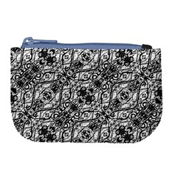 Black And White Ornate Pattern Large Coin Purse