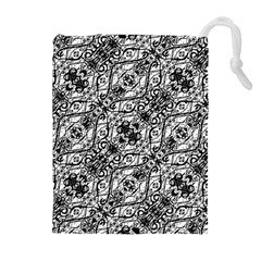 Black And White Ornate Pattern Drawstring Pouches (extra Large)