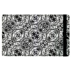 Black And White Ornate Pattern Apple Ipad Pro 12 9   Flip Case