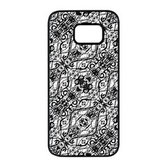 Black And White Ornate Pattern Samsung Galaxy S7 Edge Black Seamless Case