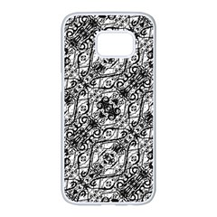 Black And White Ornate Pattern Samsung Galaxy S7 Edge White Seamless Case
