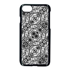 Black And White Ornate Pattern Apple Iphone 7 Seamless Case (black)