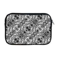 Black And White Ornate Pattern Apple Macbook Pro 17  Zipper Case