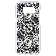Black And White Ornate Pattern Samsung Galaxy S8 White Seamless Case