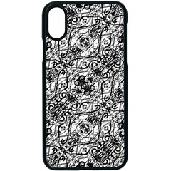 Black And White Ornate Pattern Apple Iphone X Seamless Case (black)