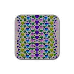Love In Eternity Is Sweet As Candy Pop Art Rubber Square Coaster (4 Pack)