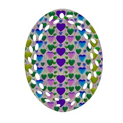Love In Eternity Is Sweet As Candy Pop Art Oval Filigree Ornament (two Sides)