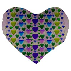 Love In Eternity Is Sweet As Candy Pop Art Large 19  Premium Flano Heart Shape Cushions