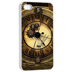 Wonderful Steampunk Desisgn, Clocks And Gears Apple Iphone 4/4s Seamless Case (white)