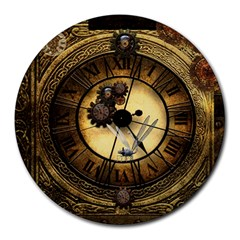 Wonderful Steampunk Desisgn, Clocks And Gears Round Mousepads