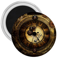 Wonderful Steampunk Desisgn, Clocks And Gears 3  Magnets
