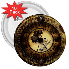 Wonderful Steampunk Desisgn, Clocks And Gears 3  Buttons (10 Pack)
