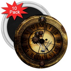 Wonderful Steampunk Desisgn, Clocks And Gears 3  Magnets (10 Pack)