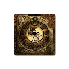 Wonderful Steampunk Desisgn, Clocks And Gears Square Magnet