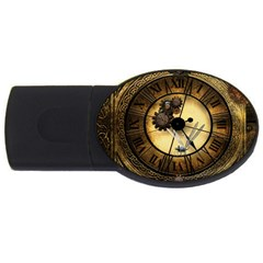 Wonderful Steampunk Desisgn, Clocks And Gears Usb Flash Drive Oval (4 Gb)