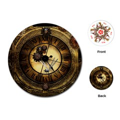 Wonderful Steampunk Desisgn, Clocks And Gears Playing Cards (round)