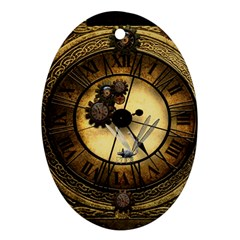 Wonderful Steampunk Desisgn, Clocks And Gears Oval Ornament (two Sides)