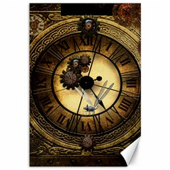 Wonderful Steampunk Desisgn, Clocks And Gears Canvas 12  X 18