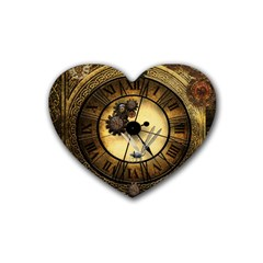 Wonderful Steampunk Desisgn, Clocks And Gears Rubber Coaster (heart)