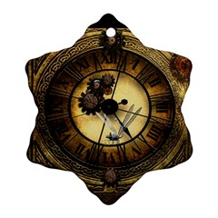 Wonderful Steampunk Desisgn, Clocks And Gears Snowflake Ornament (two Sides)