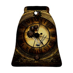 Wonderful Steampunk Desisgn, Clocks And Gears Bell Ornament (two Sides)