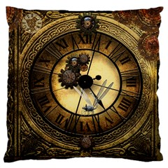 Wonderful Steampunk Desisgn, Clocks And Gears Large Cushion Case (two Sides)