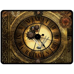 Wonderful Steampunk Desisgn, Clocks And Gears Double Sided Fleece Blanket (large)