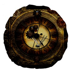 Wonderful Steampunk Desisgn, Clocks And Gears Large 18  Premium Flano Round Cushions