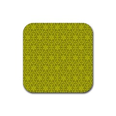 Flower Of Life Pattern Lemon Color  Rubber Square Coaster (4 Pack)