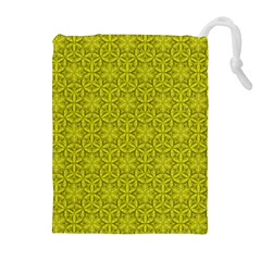 Flower Of Life Pattern Lemon Color  Drawstring Pouches (extra Large)