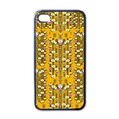 Rain Showers In The Rain Forest Of Bloom And Decorative Liana Apple Iphone 4 Case (black)