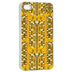 Rain Showers In The Rain Forest Of Bloom And Decorative Liana Apple Iphone 4/4s Seamless Case (white)