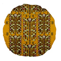 Rain Showers In The Rain Forest Of Bloom And Decorative Liana Large 18  Premium Round Cushions
