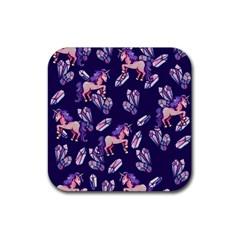 Unicorns Crystals Rubber Coaster (square)