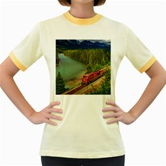 Canadian Railroad Freight Train Women s Fitted Ringer T Shirts