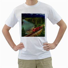 Canadian Railroad Freight Train Men s T Shirt (white) (two Sided)